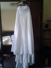 Wedding dress with red detail for sale
