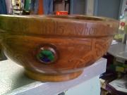 EK McDermott 1908 Hand craved wooden bowl