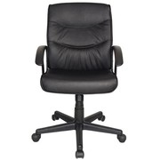 New Boxed Rio Leather Faced Executive Office Chair in Black